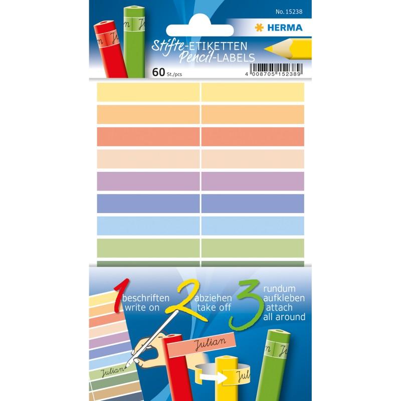 HERMA Stifte-Etiketten · Namensaufkleber für Buntstifte · 10 x 46 mm · selbstklebend