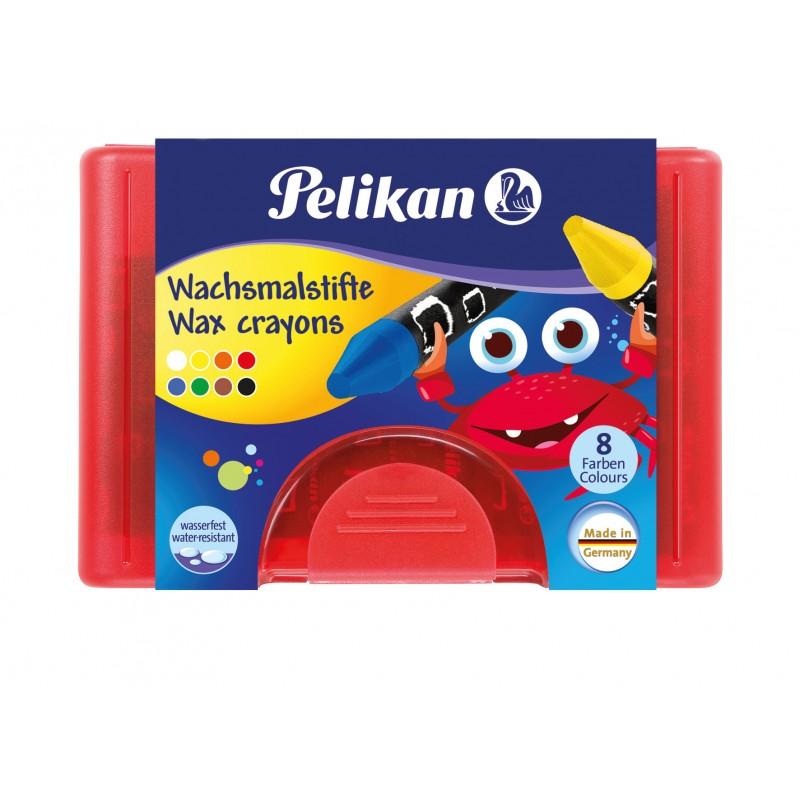 Pelikan Wachsmalstift  665/8 WF · rund · wasserfest · 8 Farben · Box mit 8 Stück + 1 Schaber