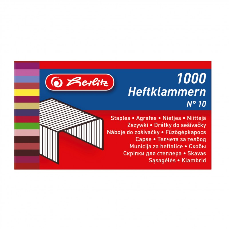 herlitz Heftklammer für Büroheftgerät No.10 · verzinkt · 1.000er Schachtel  · 20 Strips à 50 Heftklammern