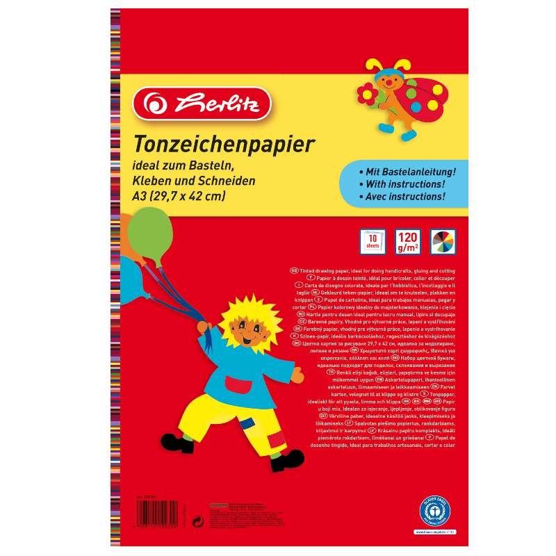 Herlitz Tonzeichenpapierblock 130 g/m² · A3 · 10 Blatt in 10 Farben