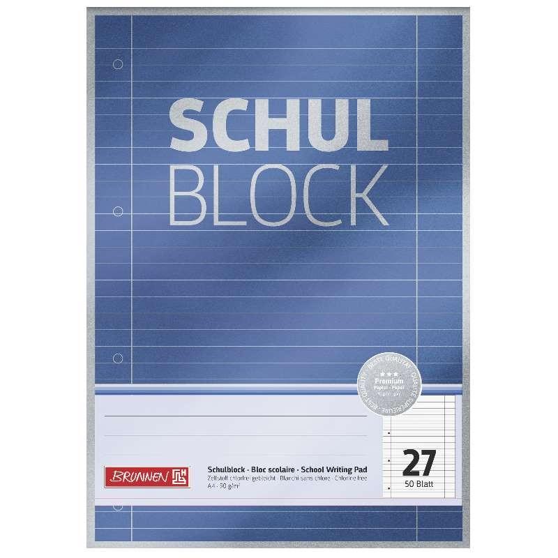 BRUNNEN Schulblock · DIN A4 · Lineatur 27 · 50 Blatt · Premium